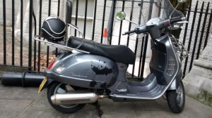 A Panda  Scooter outside  the Inns of  Court