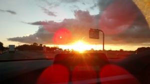 Sun setting  from the car