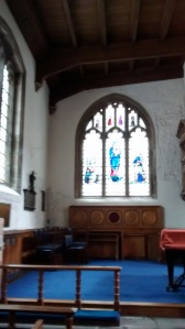 Fabulous stained  glass windows in  St Olave's
