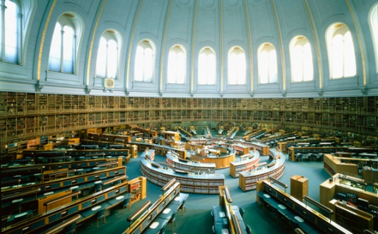 The British Library Reading Room inside the British Museum, Bloomsbury, before the move of the British Library to its current location at St.Pancras.