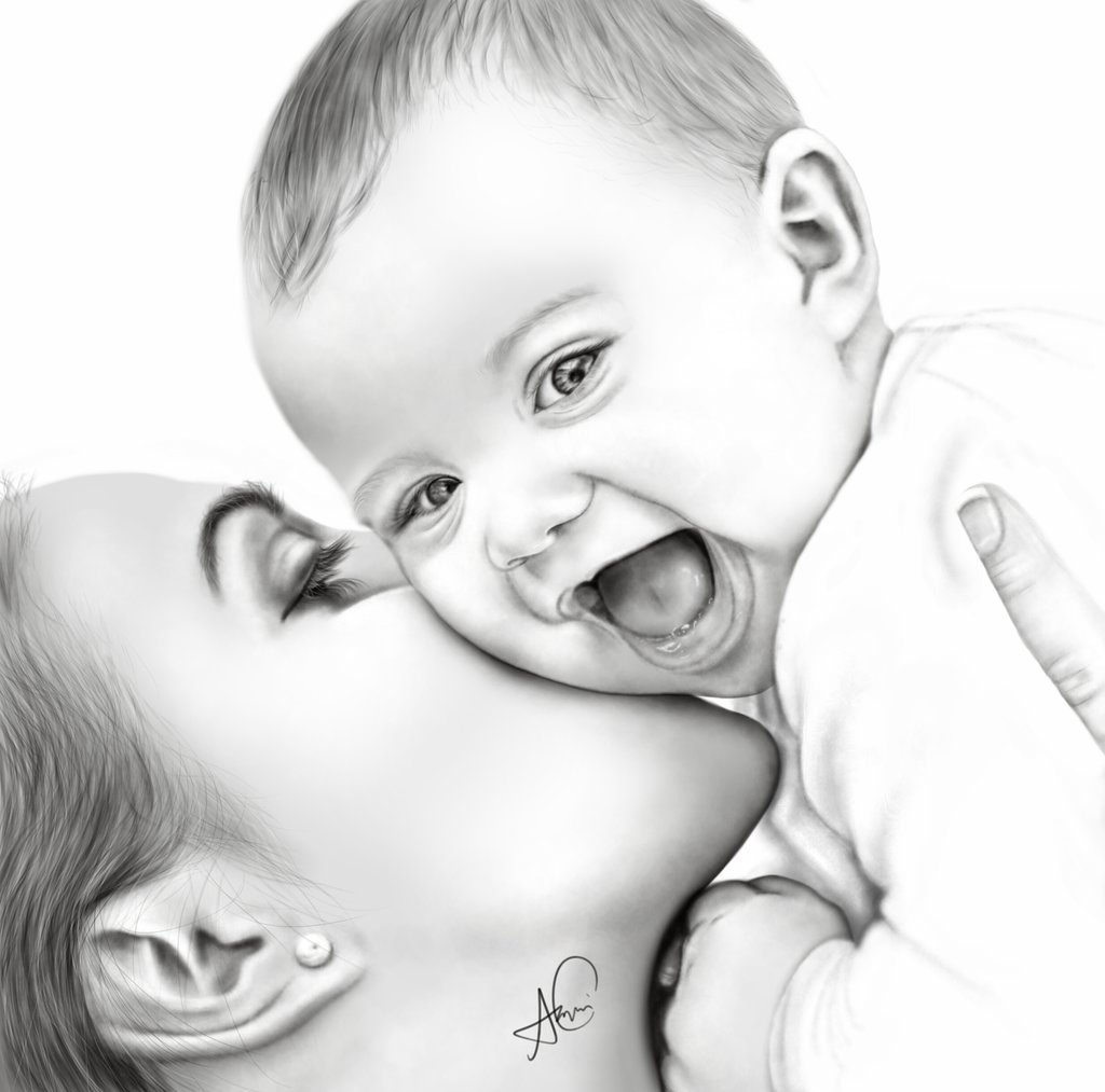 digital_painting_of_mother_and_baby_by_laziee2ann-d7qt35p